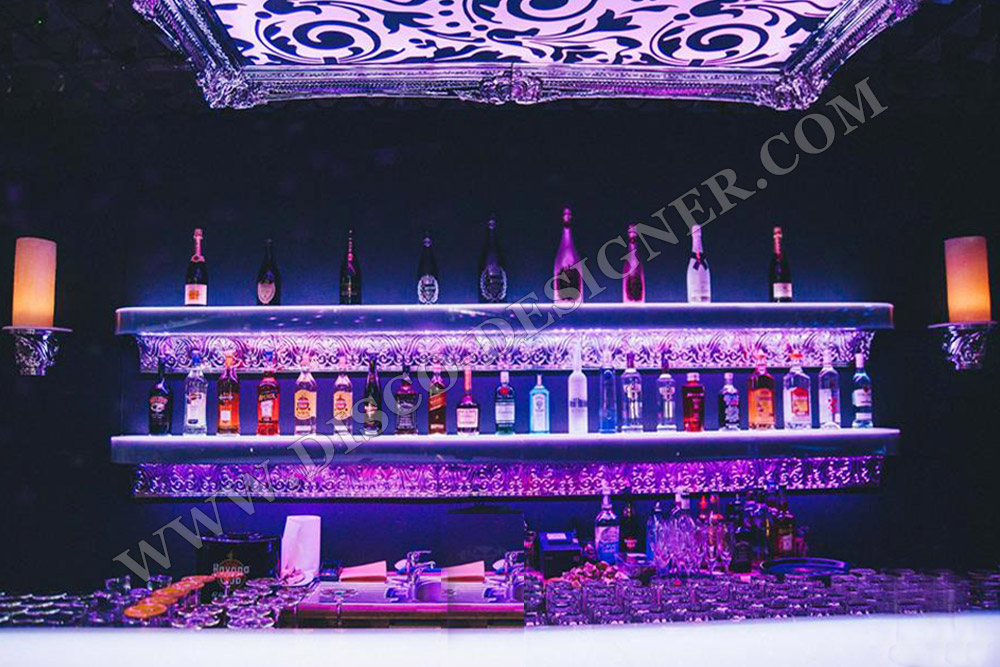 LED Baroque Floating Wall Bottle Display Shelf by Disco Designer